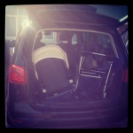 The bugaboo flung haphazardly into the boot and there is still room for shopping.
