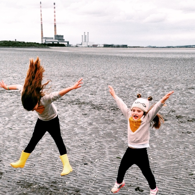 Jumping in Sandymount. The camera suggests we were having a lovely day.